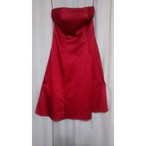 Vestido Fiesta Strapless Rojo Raso Y Bolero Negro Raso
