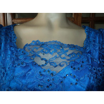 Hermoso Vestido De Fiesta En Encaje Azul...
