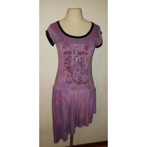 Vestido Casual Color Violeta De Algodón
