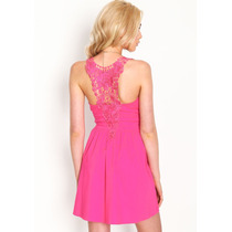 Vestido Importado E E U U Crochet Espalda Color Coral 2016