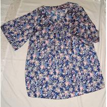 Vestido Azul Estampado De Simil Seda Muy Fresca Talle 6