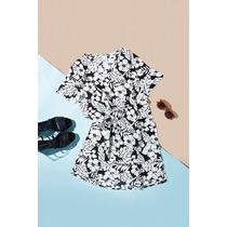 Vestido Remeron Corto Con Mangas Estampa Flores Drole