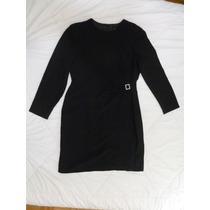 Vestido Negro Manga Largas Corto Tipo Cocktail C Strass