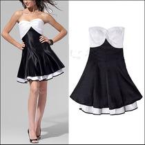 Vestido Strapless En Raso Blanco Y Negro!!!!
