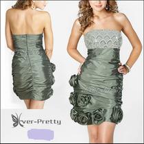Vestido Corto Strapless De Raso Color Gris 3xl