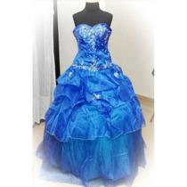 Vestido 15 Años Azul Francia