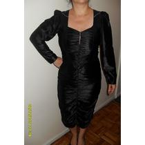 Vestido Negro Fiesta Chiffon C/strass Drapeado.como Nuevo!!!