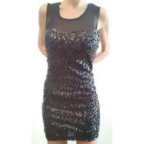 Vestido Corto De Lentejuelas Y Espalda Con Transparencia