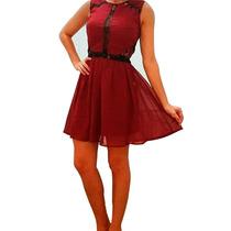 Clippate Vestido Gasa Importada Bordo Con Encaje Mujer
