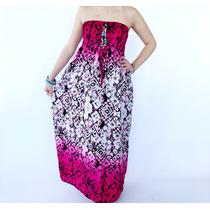 Vestido Strapless Largo Estilo Batik Bienguapa