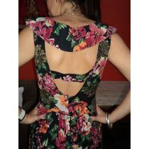 Precioso !!!, Vestido Con Flores Grandes, Marca Sathya,t 2