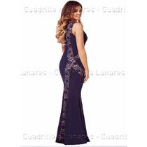 Vestido De Fiesta Largo Con Encaje Importado Talles Grandes