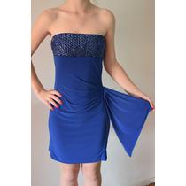 Vestido Azul Francia Lycra Con Lazo Y Canutillos Talle S