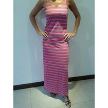 Vestido Rayado Importado Algodón Modal Talle L