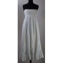 Vestido Largo Strapless-canesú Elastizado-bordado+calado
