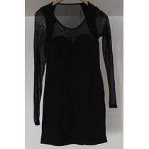 Vestido Complot Negro C/transparencias Talle Medium 40