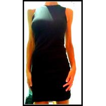 Vestido Corto De Algodon Y Lycra Negro Con Espalda Semi Desc