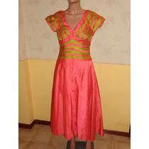 Espectacular Vestido De Fiesta Color Coral Con Verde
