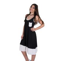 Vestido Musculosa En Viscosa Combinado- Axioma