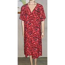 Vestido Seda Fria Agamuzada Estampado Batik Talles Grandes