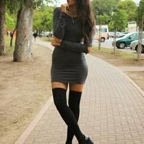 Vestido Corto De Modal Y Lycra!mangas Largas! Envíos
