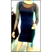 Vestido De Lycra Brilloso M Larga Y Transp Vs Colores Corto