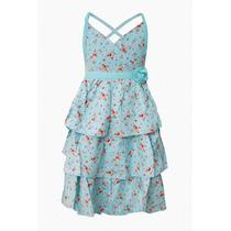 Vestido De Nena Con Flores Importado, Brishka N-0035