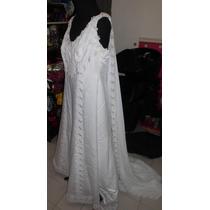 Vestido De Novia Blanco Estilo Imperial Bordado Alta Costura