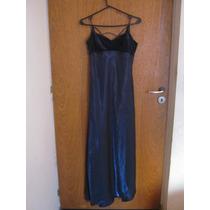 Vestido Fiesta Noche Raso Azul Con Terciopelo Strass Hermoso