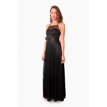 Vestido Largo, Elastizado De Encaje, Brishka, V-0026