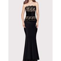 Elegante Vestido Fiesta Strapless Negro Con Encaje Importado