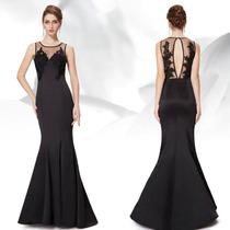 Vestido Ever Pretty Negro C/ Encaje Bordado