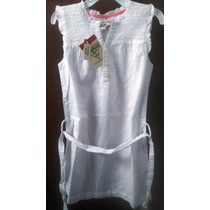 Vestido Blanco Sin Mangas Osh Kosh Talle 6 C/cinturón Nuevo
