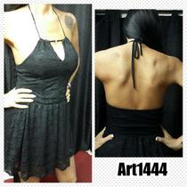 Vestido Encaje Negro Espalda Descubierta,para Ir A Bailar