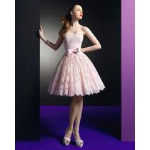 Vestido De Fiesta 15 Rosa Encaje Corset Raso Tul Mujer