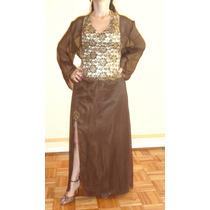 Vestido De Fiesta Largo Con Bordado Dorado, Casaca Marrón