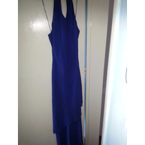 Vestido Fiesta Largo Azul Organza Espalda Desc Sexy Egresado