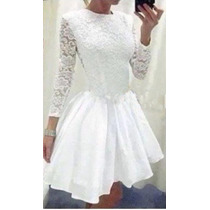 Vestido Encaje,blanco, Civil,cocktail, Talle M/l,elastizado