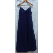 Vestido De Fiesta - Azul Con Breteles Plateados