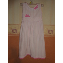 Vestido Sin Mangas Talle 6 Rosa Con Blanco