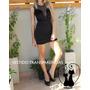 Vestido De Fiesta Corto Negro Con Transparencias Elastizado