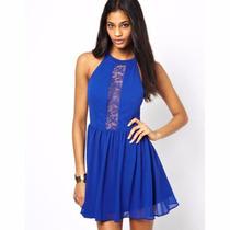 Vestido Corto Fiesta Vestir Azul Con Encaje Importado