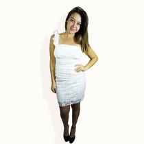 Vestido Fiesta Blanco Encaje, 1 Hombro Floreado. Otoño 2016