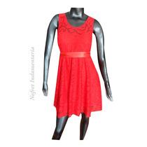 Vestido Rojo Broderie Fiesta Noche Civil Bautismo T S (1)