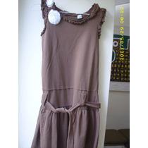 Vestido Nena 12/14 Años-yersey Color Chocolate-!!hermoso!!