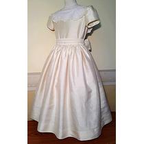 Vestido Importado Nena Comunión Cortejo 100% Seda, T 10, Usa