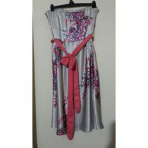 Vestido De Raso Floreado