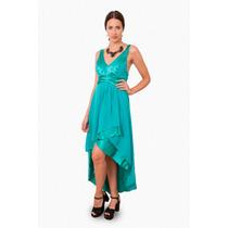 Vestido Irregular De Gasa Escote Marilyn, Brishka V-0020