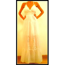 Vestido Blanco Largo Con Encaje Y Espalda Descubierta