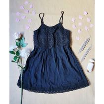 Vestido Corto Bambula, Crochet, Negro Suelto, Tiritas